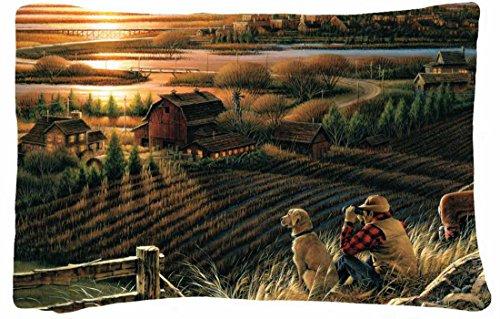 Queen Size Microfiber Peach Decorative Pillowcases -Nature Landscapes Terry Redlin Best Friends Art Autumn Evening Unset House River Bridge Golf Dog Binoculars Migratorybirds