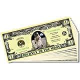 """Apollo 11 Commemorative """"Journey To The Moon"""" Bill - 10 Count With Bonus Clear Protector & Christoph"""