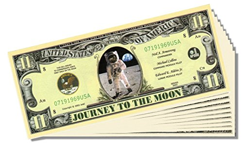 "Apollo 11 Commemorative ""Journey to the Moon"" Bill - 10 Count with Bonus Clear Protector & Christopher Columbus Bill"