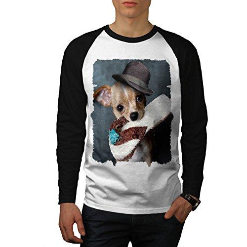 Cucciolo pantofola andare a prendere cagnetto Uomo Nuovo Bianca (Maniche Nere) XXL Baseball manica lunga Maglietta | Wellcoda