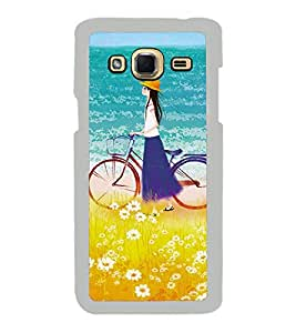 Girl on beach with Cycle 2D Hard Polycarbonate Designer Back Case Cover for Samsung Galaxy J3 2016 :: Samsung Galaxy J3 2016 Duos :: Samsung Galaxy J3 2016 J320F J320A J320P J3109 J320M J320Y