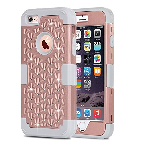 iPhone 6 Case, iPhone 6S Case, BENTOBEN Shockproof Protective Case Cover for iPhone 6 6S (4.7 Inch) Triple Layer Sparkly Studded Bling Rhinestone Hybrid Hard PC & Soft Silicone, Rose Gold/Gray (Protective Iphone 6 Case Silicone compare prices)