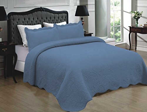 Mk Collection 3pc Quilted bedspread Embroidery Solid 100% Cotton New (California King, Blue) (Blue Quilt California King compare prices)