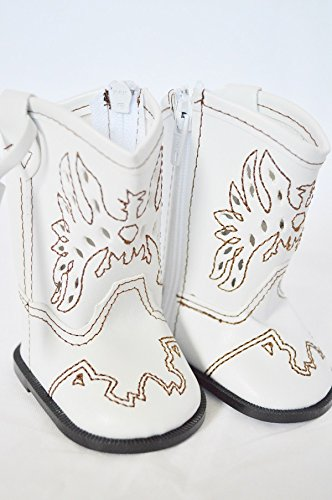 White Cowgirl Boots for American Girl Dolls