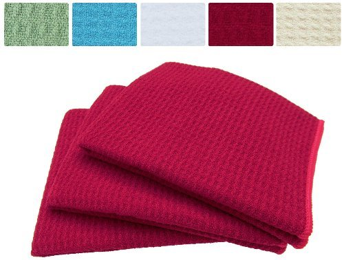 Sinland 3-Pack Microfiber Waffle Weave Dish Towels Drying Towels Kitchen Towels Cloths(Amaranth, 16X24) Color: Amaranth Size: 16X24 Home & Kitchen front-475835