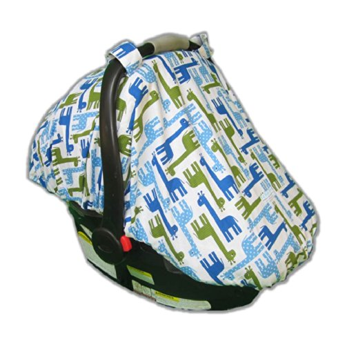 Fitted Car Seat Cover/Canopy Giraffe (Blue)