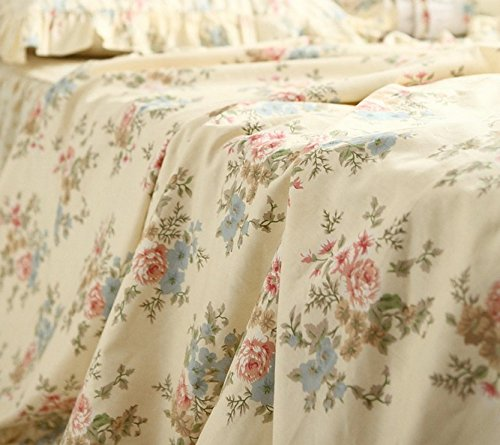 FADFAY Home Textile,Vintage Floral Print Bedding Set,Elegant French Country Style Bedding Set,4Pcs 4
