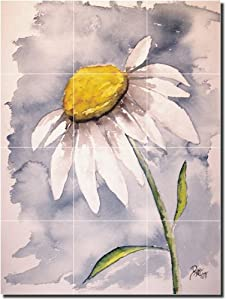 """Daisy"" by Derek McCrea - Ceramic Tile Mural 24"" x 18"" Backsplash"