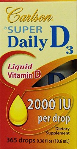 Carlson Labs Super Daily D3 2000Iu Supplement, 10.6 Ml 0.36 Fluid Ounce