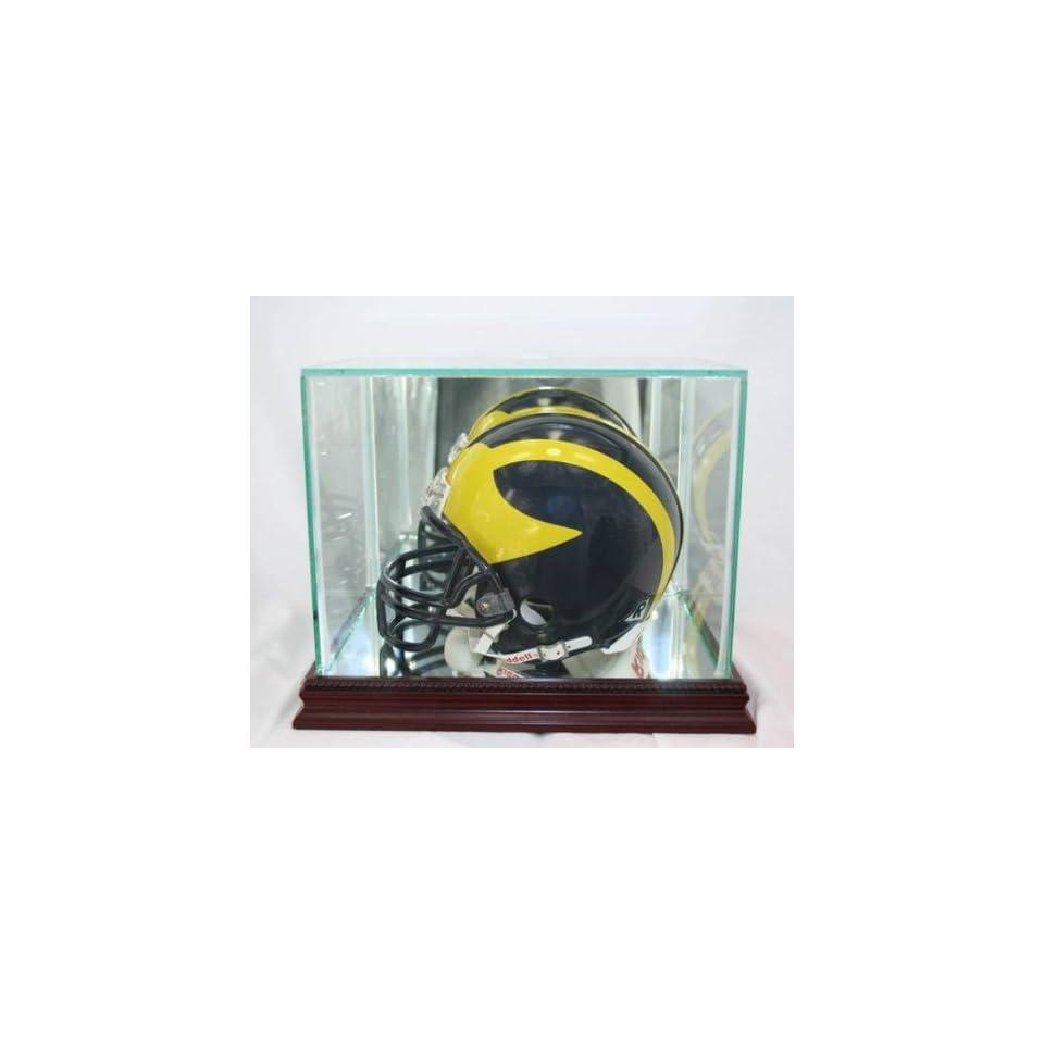 Glass Football Mini Helmet Display Case with Cherry Wood Molding