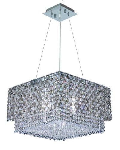 Elegant Lighting 1299D16C-Gt/Rc Moda 9-Inch High 4-Light Chandelier, Chrome Finish With Golden Teak (Smoky) Royal Cut Rc Crystal front-827528