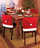 Santa Claus Clause Hat Chair Covers Set of 8 Decor Christmas Holiday Festive Brand New