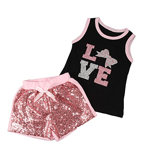 2pcs Toddler Kids Baby Girls Summer Clothes T-shirt Tops+Shorts Pants Outfit Set (110cm(4~5T)) (Summer Toddler Clothes compare prices)