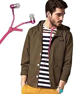 Zipper Style 3.5mm In Ear Bud Earphones Headset Handsfree Compatible For Infocus Bingo 20 -Pink