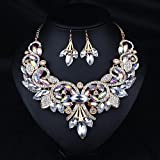 Hamer Women's White and Black Crystal Alloy Statement Chunky Necklace and Earrings Sets for Women Fashion Bohemian Jewelry (White)