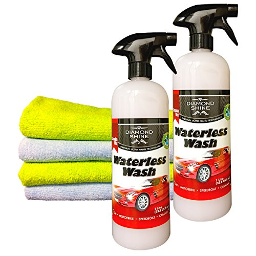 waterless-wash-and-wax-car-cleaner-2-x-1-litre-bundled-with-4-microfibre-cloths-by-diamond-shine-sys
