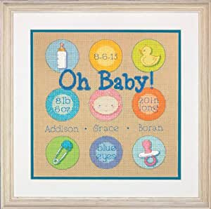 Dimensions Needlecrafts Counted Cross Stitch Kit, Baby Dots Birth Record