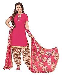 Vidhya LifeStyle Women's Glaze Cotton Patialas Unstitched Dress Material(Pink)