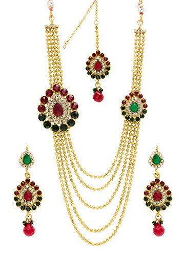 Bindhani Multicolor Gold-Plated Multi-Strand Necklace With Drop Earring & Mangalsutra Set For Women