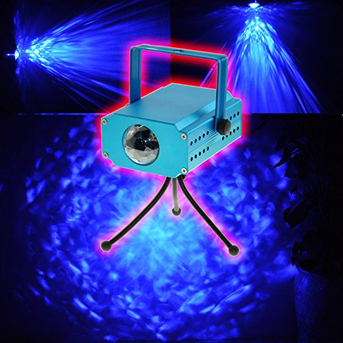 Heneng Led Mini Stage Light Protable Voice Control Projector,Blue Water Wave Effect For Club Dj Disco Bar Stage House