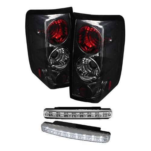 Carpart4U Ford F150 Styleside (Not Fit Heritage & Svt) Euro Style Smoke Tail Lights & Led Day Time Running Light Package