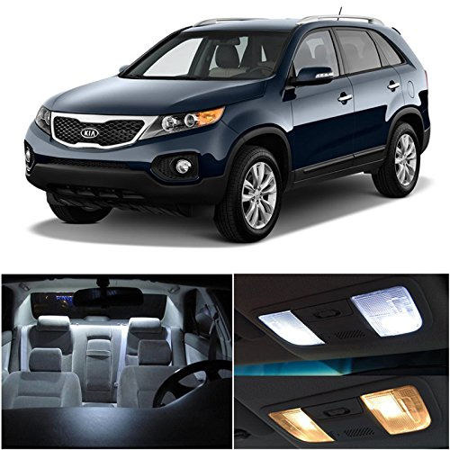 Kia Sorento 2011-2014 Xenon White Premium Led Interior Lights Package Kit (8 Pieces)