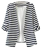 Sheinside® Women's Navy White Striped Long Sleeve Fitted Blazer
