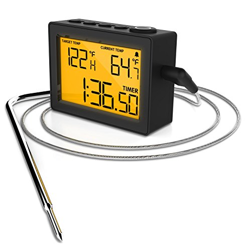 Cappec's Highly Accurate Kitchen / Oven / BBQ / Smoker Thermometer - Has High Tempertaure Alert and Low Temperature Alert. With High Temperature Resistant Cable