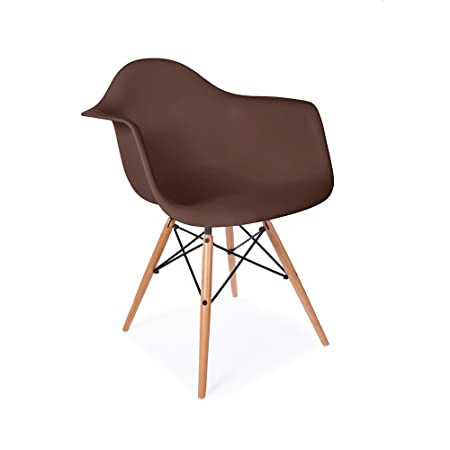 Mid Century Modern Eames Style DAW Brown Armchair with Dowel Wood Eiffel - HIGH QUALITY MATTE FINISH
