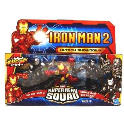 Iron Man 2 Super Hero Squad  Hi-Tech Showdown (Mark VI, Hammer Drone, War Machine) Action Figure Multi-Pack (Iron Man Action Figure )