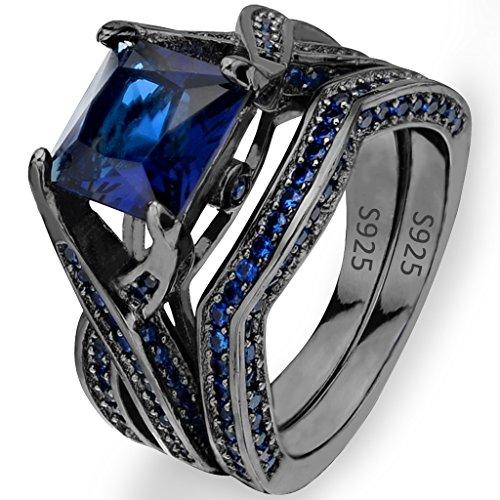 EVER-FAITH-Black-Sterling-Silver-925-Princess-Cut-CZ-Solitaire-Cocktail-Ring-Set-Sapphire-Color