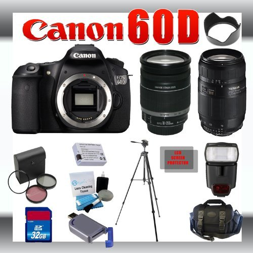Canon EOS 60D 18 MP Digital DSLR Camera with Canon 18-200mm and Tamron AF 75-300mm f/4.0-5.6 LD for Canon Digital SLR Cameras + 32GB Memory Card + Digital Flash + SD Memory Card Reader + Li-Ion Replacement Battery Pack + Deluxe Cleaning Kit + Carrying Cas