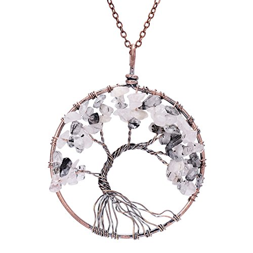Sedmart Tree of life pendant Amethyst Rose Crystal Necklace Gemstone Chakra Jewelry Mothers Day Gifts (Black Rutilated Quartz) (Gem Pendant Necklace compare prices)