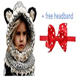 Winter Infant Baby Toddler Kid Hat Wool Knitted Crochet Beanie Cap Scarf Set (1-D)