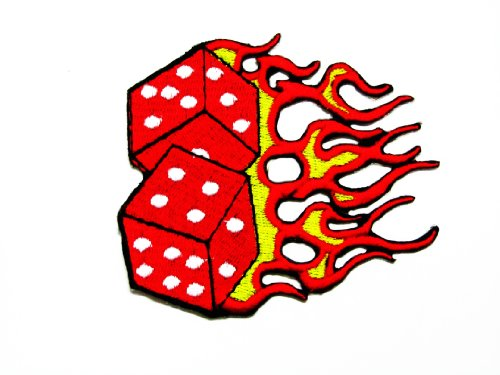Hot Leathers Flaming Dice Embroidered Sew Iron on Patch/SIAMD.D.