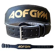Top AQF Leather Weight Lifting Belt Body Building Fitness Gym Back Support Padded Price-image