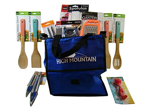 SHOPPING CART BAG and Kitchen Accessories Bundle, including Bamboo Spoon, Slotted Spoon, Spatula, Egg Slicer, Stainless Steel Paring Knives, Cheese