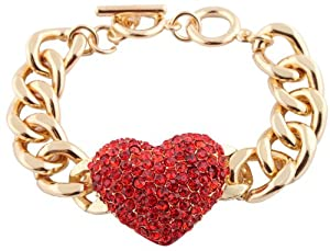 JOTW Gold with Red Iced Out Heart Link Chain Adjustable Toggle Bracelet