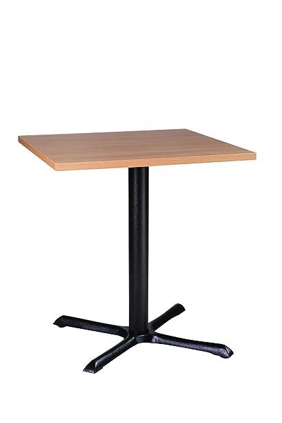 Roza quadrato, 50 cm, in legno di quercia di qualità da cucina o bar o ristoranti-Tavolo con sedie in ghisa, colonna