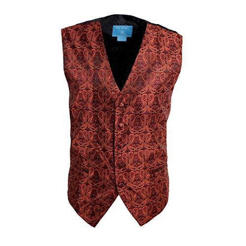 Egc1B05C-Xl Orange Black Patterned Beautiful Family Waistcoat Woven Microfiber Christmas Day Mens Vest X-Large Vest By Epoint