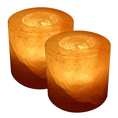 Crystal Allies Gallery: Pack Of 2 Natural Himalayan Cylinder Salt Tealight Candle Holder Air Purifier & Ionizer W/ Authentic Crystal Allies Info Card