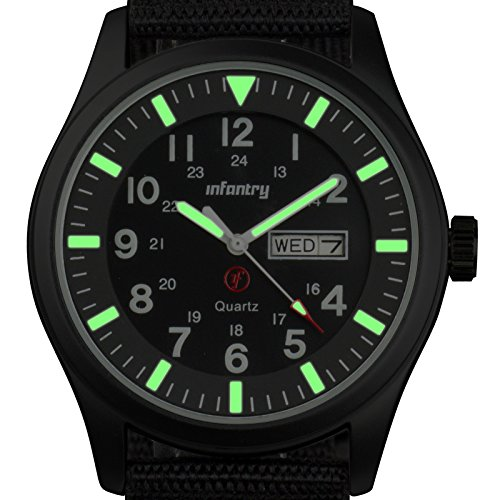 INFANTRY Men's Analog Quartz Aviator Wrist Watch with Luminous Dial and Strong Nylon Band - Black (Tactical Dial compare prices)