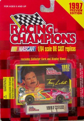 1997 Racing Champions Terry Labonte #5 Kellogg's 1:64 Scale Die Cast Replica with Collector Card and Display Stand Preview Edition