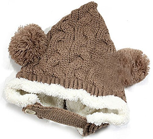 Freedi Winter Baby Infant Knit Crochet Rib Hat Cap Hood And Infinity Scarf Set Coffee front-322230