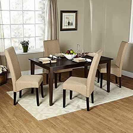 Simple Living 5-piece Brentwood Parson Modern Dining Room Set Espresso Kitchen Table and Chairs