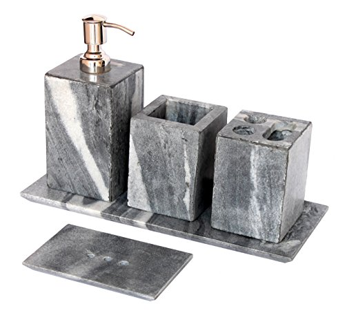Kleo bathroom accessory set made from natural black grey for Bathroom accessories sets on sale