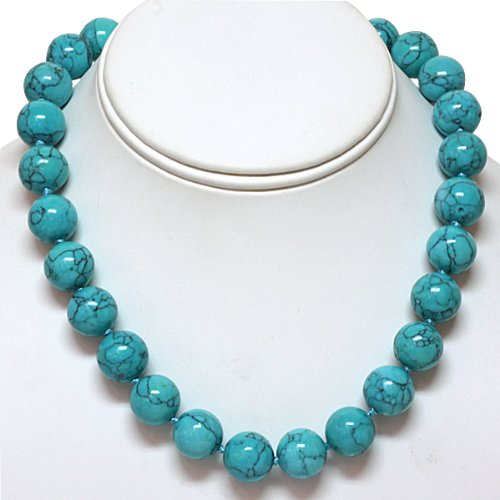 "18"" Round 14mm Green Turquoise Howlite Necklace With Lobster Clasp: Jewelry"