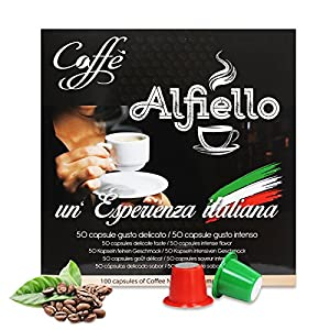 Buy 100 CAPSULES NESPRESSO COMPATIBLE COFFEE - 50 pods Intensive flavor + 50 pods Arabica Creamy taste - ALFIELLO