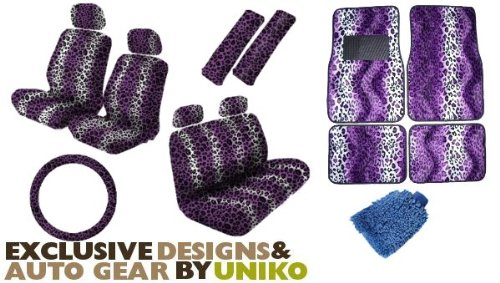 Animal Print Auto Car Truck Set Purple Leopard 18pc Seat Covers Front & Back Lowback, Back Bench, Steering Wheel & Seat Belt Covers, Front & Rear Floor Mats & Bonus Detailing WashMitt (Pink Camo Seat Covers Set For Suv compare prices)