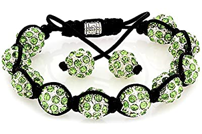 Lux Royal Diamond Apple Green Pave Crystal Stone Balls Shamballa Bracelet [Jewellery]